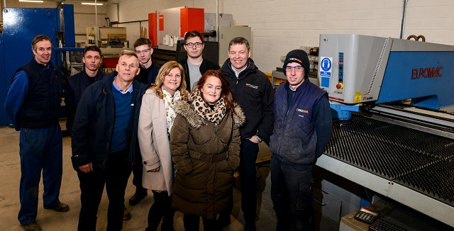 The Lincs Doors team photographed on site with new MD, Paul Walmsley and outgoing owners, Mike and Mandy Butler